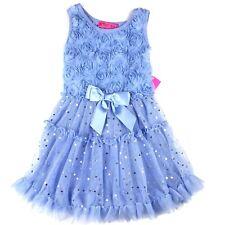 Betsey Johnson Toddler Girls Floral Dress Size 2T Blue Sleeveless Sequin Tulle