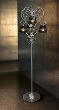 Piantana classica di design argento cristallo e paralumi BELL venezia 1801/P4L
