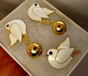 Dove bird brooch earring set white enamel  rhinestone vintage style in gift box