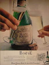 PUBLICITÉ 1981 BLANC FOUSSY VIN VIF DE TOURAINE - ADVERTISING