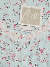 NWT ARIA WOMEN'S LOVELY AQUA FLORAL LONG SLEEVE WALTZ NIGHTGOWN GOWN $56 2X 2XL