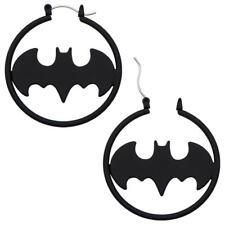 DC Comics Batman Matte Black Fashion Hoop Earrings