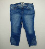 Torrid Womens Size 18 Blue Cropped Pants Embroidered Denim Jeans Cotton Blend