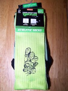 New Teenage Mutant Ninja Turtles 2 Pair Athletic Socks Youth Medium Large TMNT