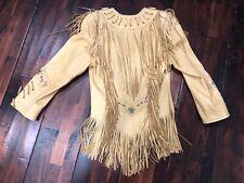 Vintage Leather Jacket Coat  Renegade Ren Ellis Western Native Fringe Beaded