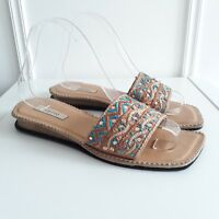 Low Heel Turquoise Ethnic Slip on Sandals Sequin Embroidered Hippy Boho Sz 5 /38