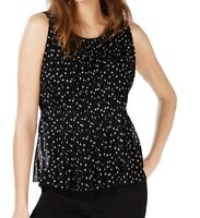 INC Women's Blouse Black Size Large L Polka Dot Pleated Crew Neck $64 #045