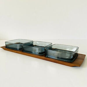 German Danish Style Mid-Century Teak Serving Snack Tray 3 Blue Glass Dishes