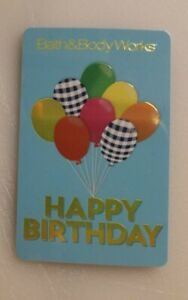 BATH & BODY WORKS GIFT CARD HAPPY BIRTHDAY BALLOONS COLLECTIBLE, MINT, PVC,