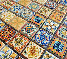 NEW MOROCCAN VINTAGE CERAMIC SQUARE MOSAIC TILES MULTI COLOUR TURKISH GEOMETRIC