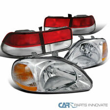 Fit Honda 96-98 Civic 2Dr Coupe Clear Headlights Headlamps+Red/Clear Tail Lamps
