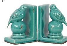 Urban Collection Stoneware Turquoise  Birds Bookends