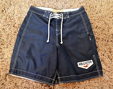 Hollister Navy Blue Lined Board Shorts Classic  Boardshorts Sz Small Drawstring
