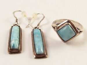 Vintage Artisan Crafted Sterling and Larimar Ring Sz 6.5 and Earrings JA242