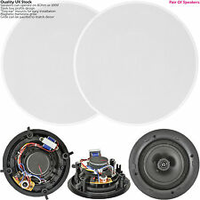 """QUALITY Pair Of 8"""" 120W 2 Way Low Profile Ceiling Speaker -100V 8Ohm-Wall Slim"""