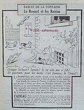 PUBLICITE DENTOL FABLES DE LA FONTAINE RENARD RAISINS SIGNE RABIER DE 1924 AD