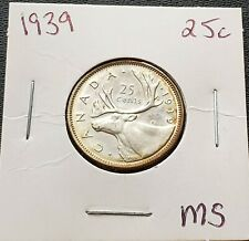1939 Canada Silver 25 Cent Quarter ***MS-64 Condition*** Great Detail