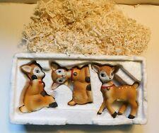 Vintage Homco Set 3 Christmas Deer Fawns Holiday Figures Reindeer