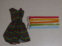 OOAK outfit - handmade dress and 5 belts for Fashion royalty, Barbie, Silkstone.