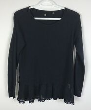 Knitted & Knotted Anthropologie Navy Lace Hem Cotton Blend Sweater Size XS, Used