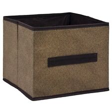 Essentials Brown Collapsible Storage Bin Container with Handle, 9x9x8 in.