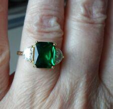 QVC Diamonique cz Sterling/Y Gold clad Green Emerald Cut/Half Moon Ring-sz 7