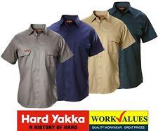 HARD YAKKA-  MENS 100% COTTON DRILL SHORT SLEEVE WORK TRADE SHIRTS - Y07510