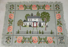 """Vtg Needle Point Tapestry / Wall Hanging / Throw  46""""x61"""" Country Multi-color"""