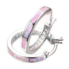 Fashion Wedding Jewelry Pink Imitation Opal White CZ Silver Hoop Earrings Gifts