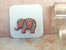 Elephant Wood Brooch, Mini animal brooch, nature gift, wooden jewellery Aztec