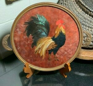 Round Handled Real Feather Rooster Vanity Tray / Dresser Plateau Glass Surfaces
