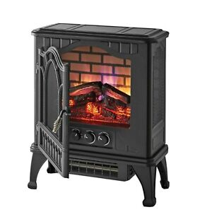 Infrared Quartz Electric Space Heater Fireplace Adjust thermostat Mainstays 3D