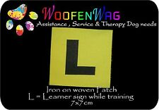 "2 x assistance dog  & K9 WOVEN "" L "" plate patches"