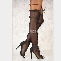 Ladies Black Mesh Peep Toe Lace Up Over the Knee Thigh Boots High Heels Stiletto