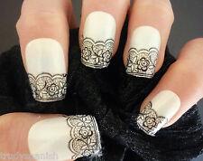 3d Nail Art Encaje Stickers Calcomanías Negro Encaje Vintage Diseño De Flores Nail Art-Nuevo