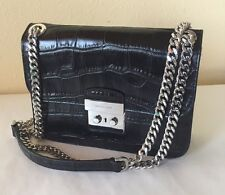 MICHEAL KORS Sloan Editor MD Black Embossed Leather Chain Shoulder Bag NWT