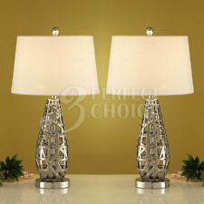 Set of 2 Table Lamps Lighting Tear Drop Shaped Abstract Metal Base Silver Finish