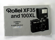 Original Rolleiflex Rollei XF 35 and 100XL (Flash) Manual, in English, 20 pages