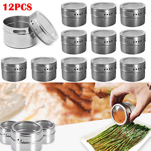 12 x Stainless Steel Magnetic Spice Rack Pot Herb Tin Jar Storage Holder Cook