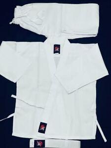 NEW Martial Arts Uniform ,White Gi kids + Adult w/White belt. Taekwondo MMA.