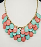 Vintage Statement Waterfall/Turquoise/Coral Lucite/Gold Tone/Choker/Necklace