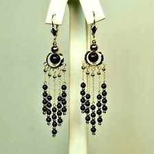 14k solid yellow gold 3inches 6mm, 3mm natural Black Onyx earrings leverbacks