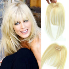 100% Human Hair Topper Piece Thin Flat Bangs Fringe Clip in Human Hairpiece
