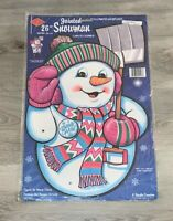 """Vintage Beistle Jointed Chuckles Snowman Christmas 26"""" Cutout Wall Hanger 1991"""