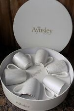 AYNSLEY SILVER BROCADE SET OF 6 MUGS  NO CLAS50050 NEW, VINTAGE CHINA STYLE