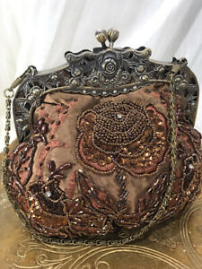 Vintage Inspired 1920's Brown Beaded and Embroidered Purse