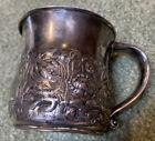 "100 Grams 1890 Shaving Mug Sterling Silver Ornate Pond Scene Frogs & Fish 4""x 3"""
