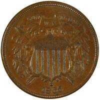 1865 2c Two Cent Piece US Coin AU About Uncirculated