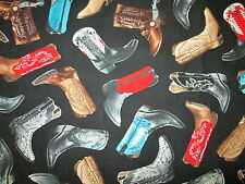 COWBOY COWGIRL BOOTS SOUTHWEST COWGIRL BOOTS BLACK COTTON FABRIC BTHY