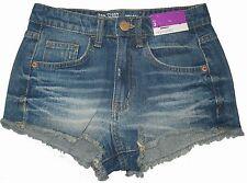 Mossimo Juniors Womens Denim Shorts DESTRUCTED FRAYED Hem HIGH WAIST SIZE 3 NEW